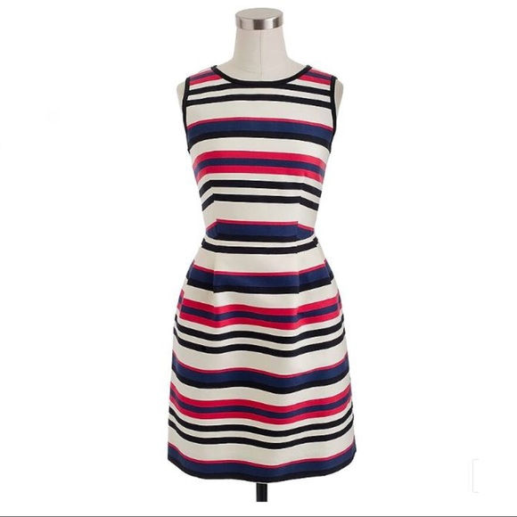 J. Crew Dresses & Skirts - J Crew Multistripe red white blue dress 6
